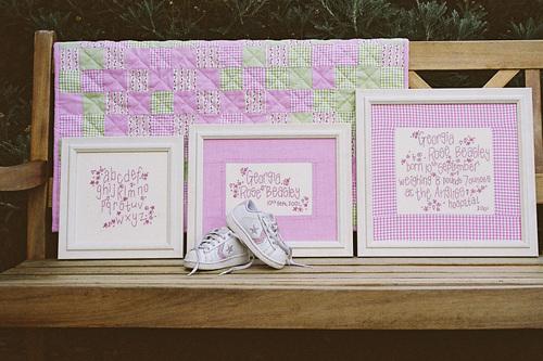 023 - Girl's Birth Sampler & Pram Quilt