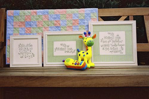 024 - Boy's Birth Sampler & Pram Quilt